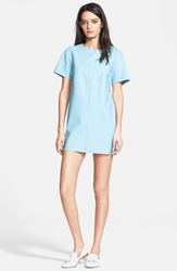 Veda 'Monochrome' Oversized Leather T Shirt Dress Turquoise