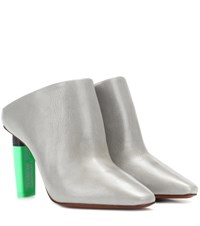 Vetements Highlighter Heel Leather Mules Grey