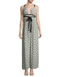 Wayf Plunging Floral Gown Sage