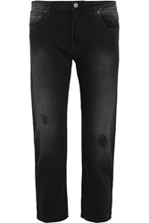 Acne Studios Pop Given Trash Distressed High Rise Straight Leg Jeans Gray