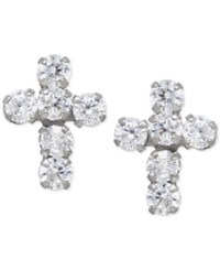Macy's Cubic Zirconia Cross Stud Earrings In 14K White Gold