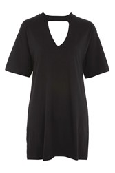 Topshop Deep V Cutout Boyfriend Tunic Black