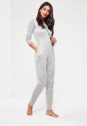 Missguided Grey Lace Up Jumpsuit Silver