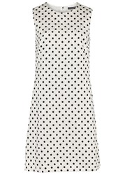 Dolce And Gabbana Monochrome Polka Dot Jacquard Dress White And Black