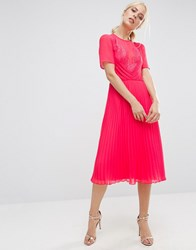 Asos Lace And Pleat Skater Midi Dress Pink