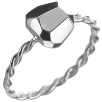 Delphine Leymarie Facets Twist Solitaire Ring Silver