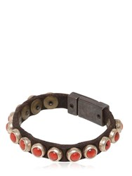 Campomaggi Coral Studded Leather Bracelet