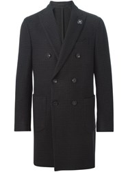 Lardini Checked Double Breasted Coat Brown