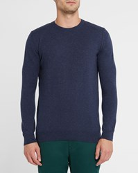 Knowledge Cotton Apparel Navy And Cashmere Round Neck Sweater Blue