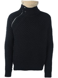 Balmain Pierre Zipped Collar Jumper Black