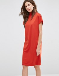 Vila High Neck Oversized Dress Ketchup Red