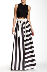 Tov Wide Striped Bow Detailed Skirt Multi
