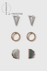 Topshop House Of Freedom Abalone Earring Pack Grey