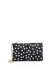 Dolce And Gabbana Polka Dot Leather Chain Pouch Black