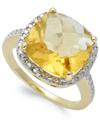 Victoria Townsend 18K Gold Over Sterling Silver Citrine 6 Ct. T.W. And Diamond Accent Ring