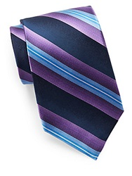 Burma Bibas Silk Striped Tie Purple