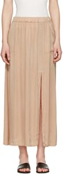 Raquel Allegra Beige Liquid Satin Skirt