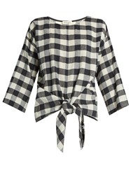 Masscob Wool And Linen Blend Gingham Top Black White