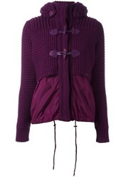 Bark Hooded Knitted Duffle Jacket Pink Purple