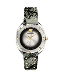 Versace 38Mm Shadov Leather Watch Silver Gold Ivory