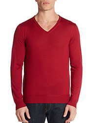 Canali Cashmere And Silk V Neck Sweater Red