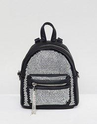 Aldo Backpack With Crystal Studding Detail And Tassels Black