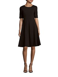 Lafayette 148 New York Solid Jewelneck A Line Dress Black