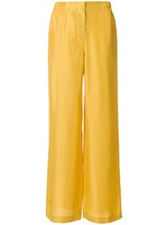 Alberta Ferretti High Waist Flared Trousers Silk Cupro Yellow Orange