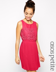 Asos Petite Exclusive Skater Dress With Pleated Skirt And Lace Top Pink