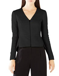 Bcbgmaxazria Pearson Faux Leather Peplum Top Black
