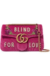 Gucci Gg Marmont Medium Embellished Quilted Velvet And Leather Shoulder Bag Pink