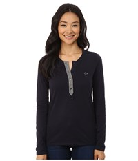 Lacoste Long Sleeve Contrast Placket Henley Midnight Stone Chine Women's Long Sleeve Pullover Black