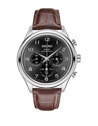 Seiko Round Leather Strap Chronograph Watch Brown