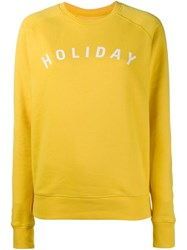 Holiday Print Sweatshirt Yellow Orange