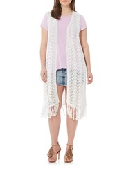Harper Liv Plus Fringed Crochet Vest White