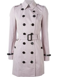 Burberry Double Breasted Trench Coat Pink And Purple