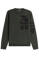 Dsquared2 Wool Pullover With Embroidered Patches Green