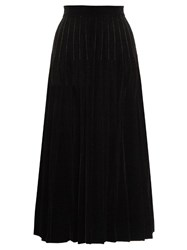 Saint Laurent Pleated Velvet Midi Skirt Black