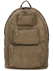 Pb 0110 Multi Pockets Backpack Men Leather One Size Green