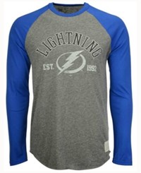 Retro Brand Men's Tampa Bay Lightning Long Sleeve Tri Blend Raglan T Shirt Gray Royalblue