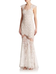 Mignon Cap Sleeve Lace Gown Ivory