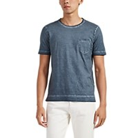 Massimo Alba Panarea Watercolor Dyed Cotton T Shirt Blue