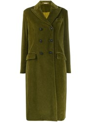 Massimo Alba Textured Double Breasted Coat Green