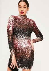 Missguided Black Sequin High Neck Bodycon Dress Multi