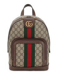 Gucci Ophidia Leather And Techno Backpack Beige