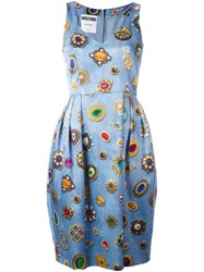 Moschino Jewel Print Dress Blue
