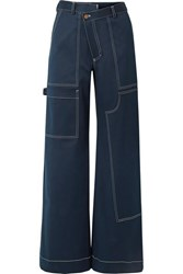 Monse Rope Trimmed Cotton Blend Satin Wide Leg Pants Navy