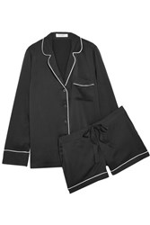 Equipment Lillian Washed Silk Pajama Set Black