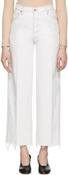 Re Done White High Rise Wide Leg Crop Jeans