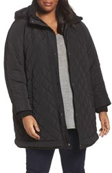 Gallery Plus Size Women's Quilted Hooded Jacket Black